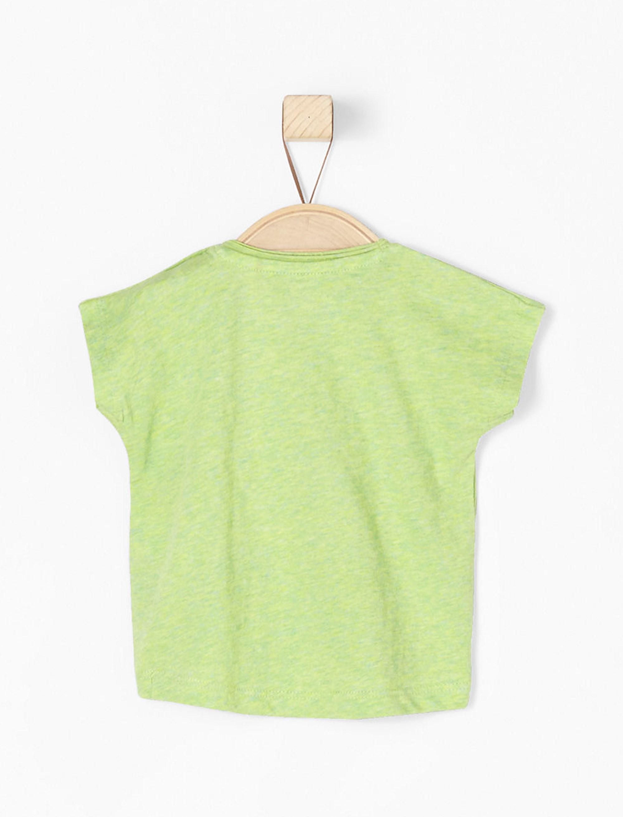تی شرت نخی یقه گرد نوزادی دخترانه - سبز روشن - 2