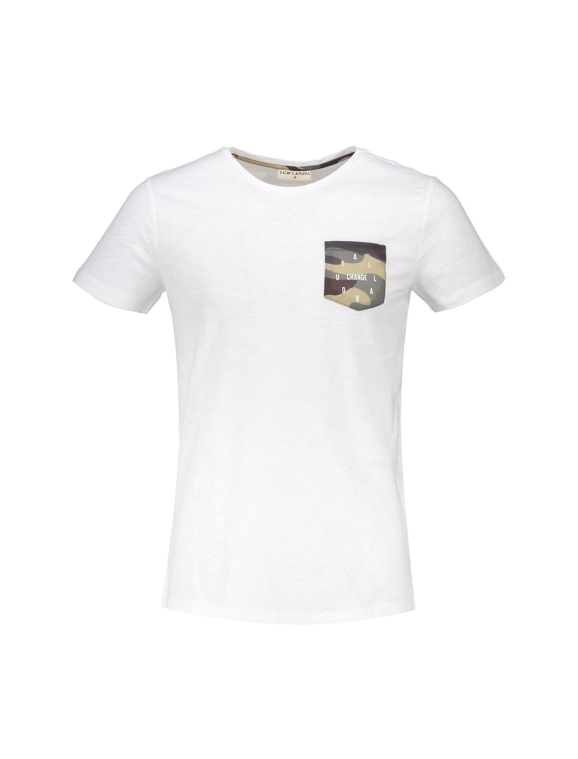 تی شرت نخی یقه گرد مردانه - ال سی وایکیکی - سفيد - 1