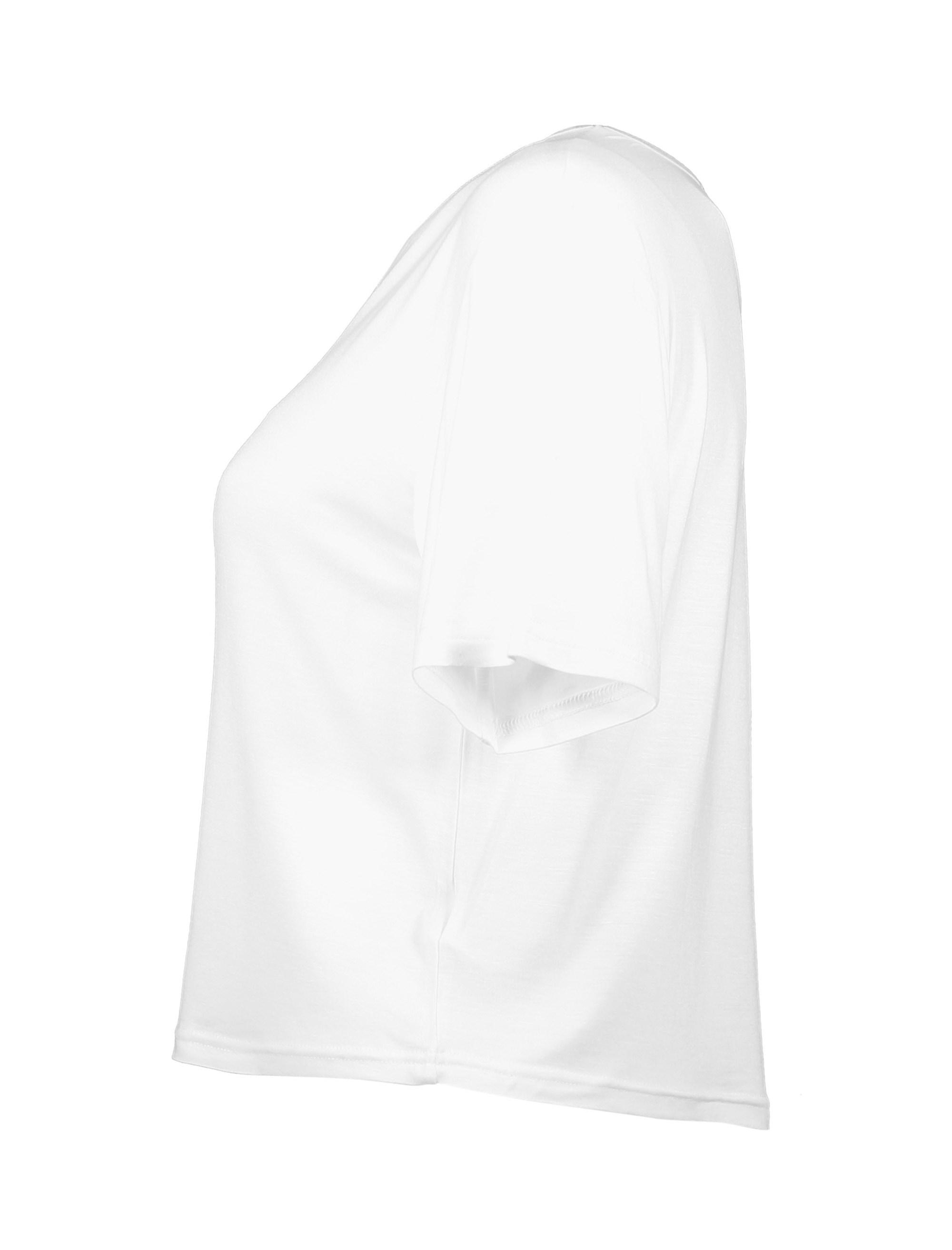تی شرت ویسکوز آستین کوتاه دخترانه - سفيد - 3