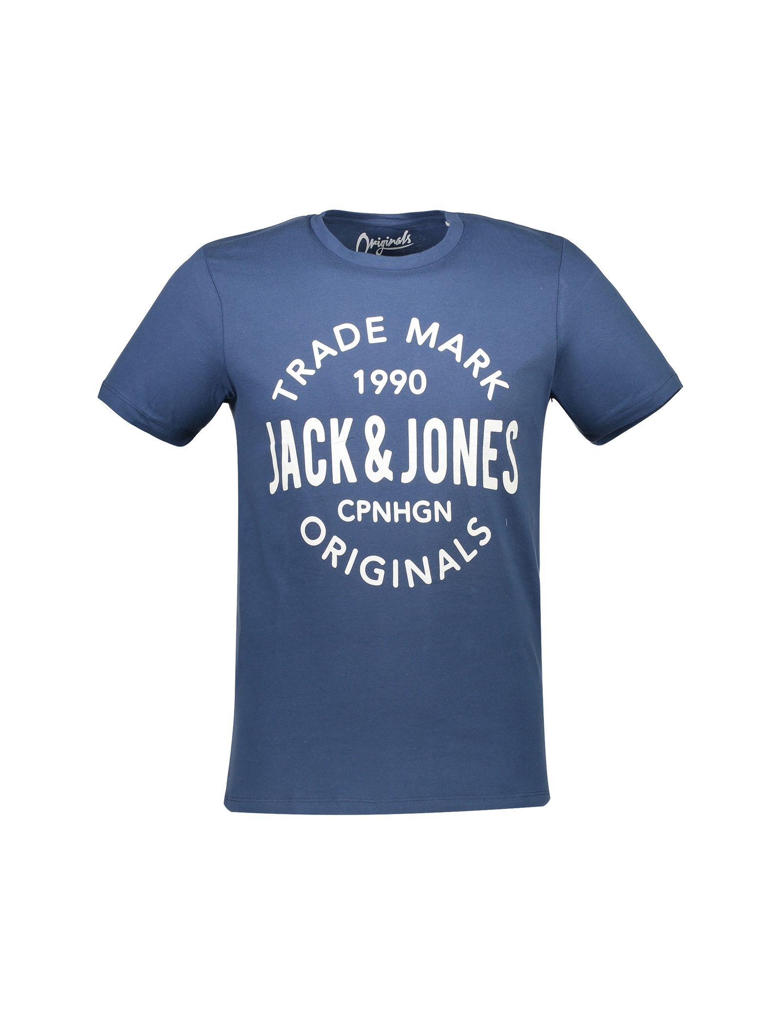 تی شرت نخی یقه گرد مردانه - جک اند جونز - آبي - 1