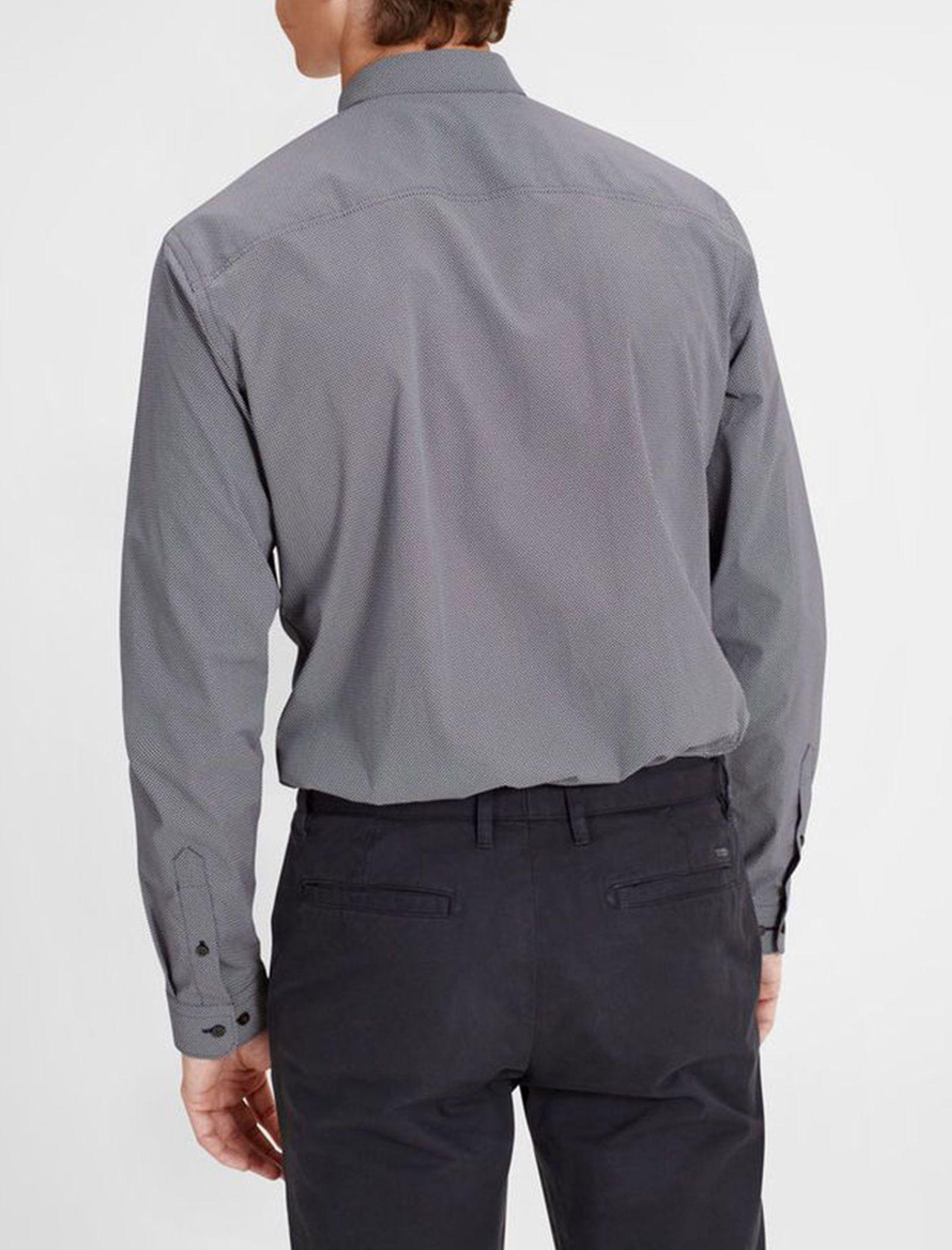 پیراهن نخی آستین بلند مردانه - جک اند جونز - سرمه اي - 4