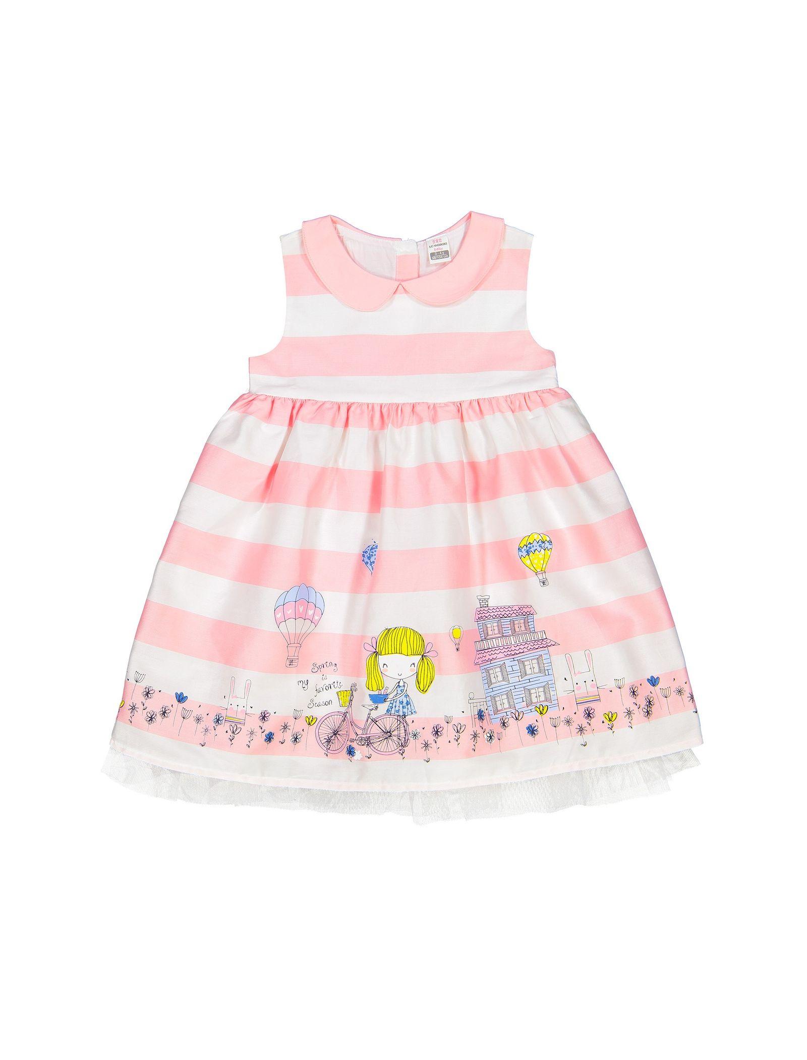 پیراهن نخی بدون آستین نوزادی دخترانه - ال سی وایکیکی - سفيد و صورتي - 1