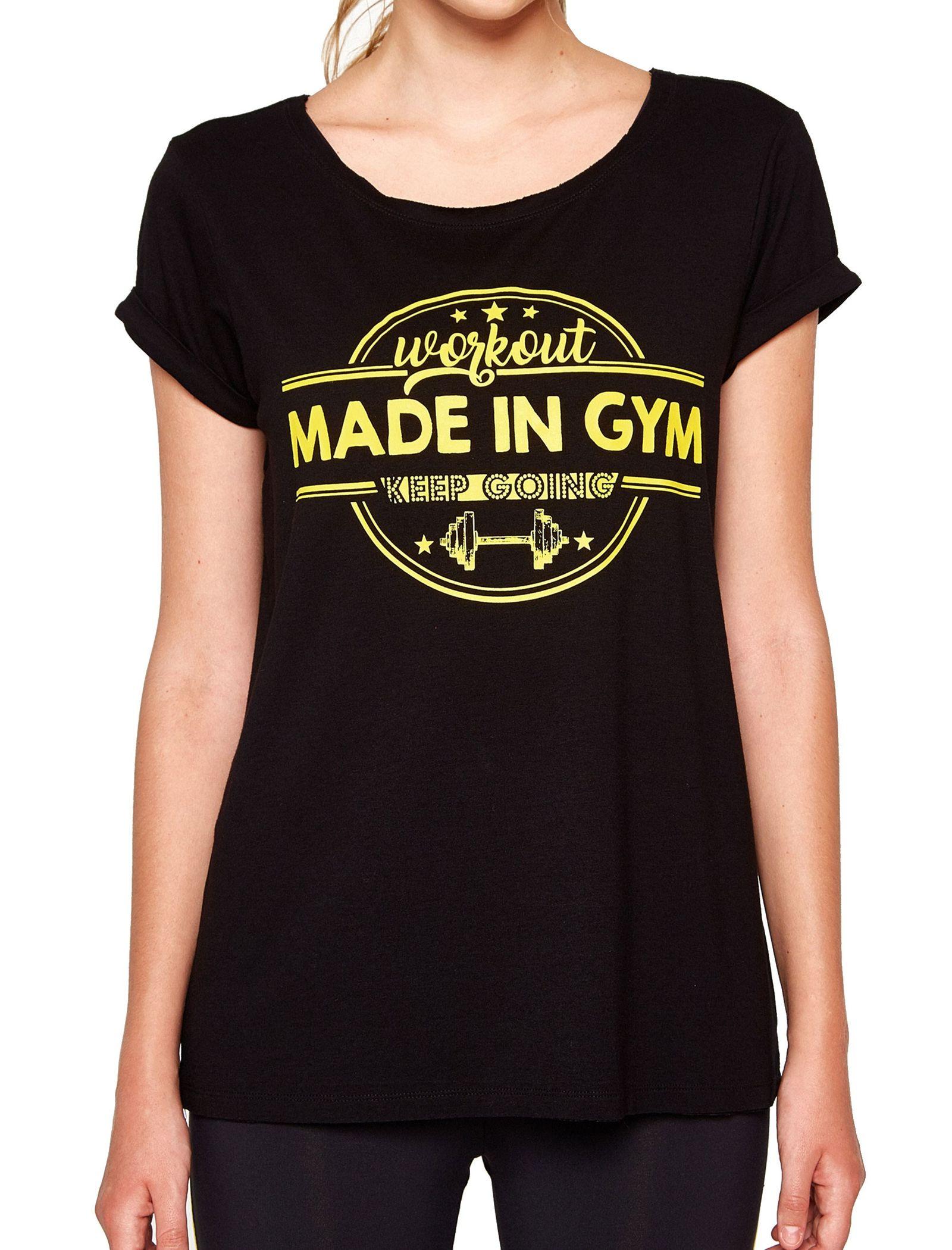 تی شرت نخی یقه گرد زنانه - کوتون - مشکي - 1