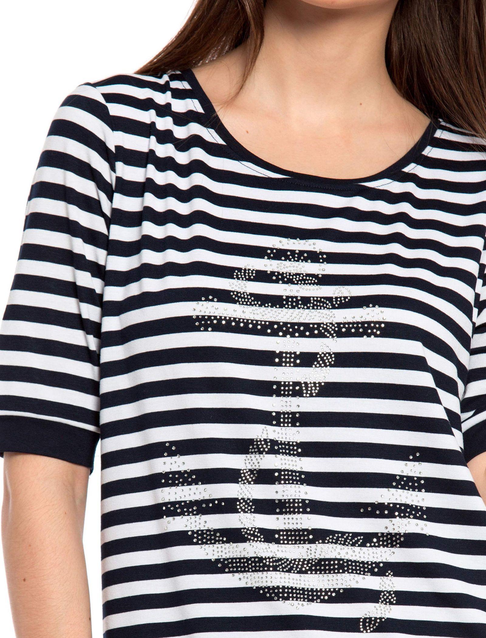 تی شرت ویسکوز یقه گرد زنانه - ال سی وایکیکی - سرمه اي و سفيد - 3