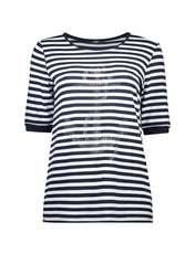 تی شرت ویسکوز یقه گرد زنانه - ال سی وایکیکی - سرمه اي و سفيد - 4