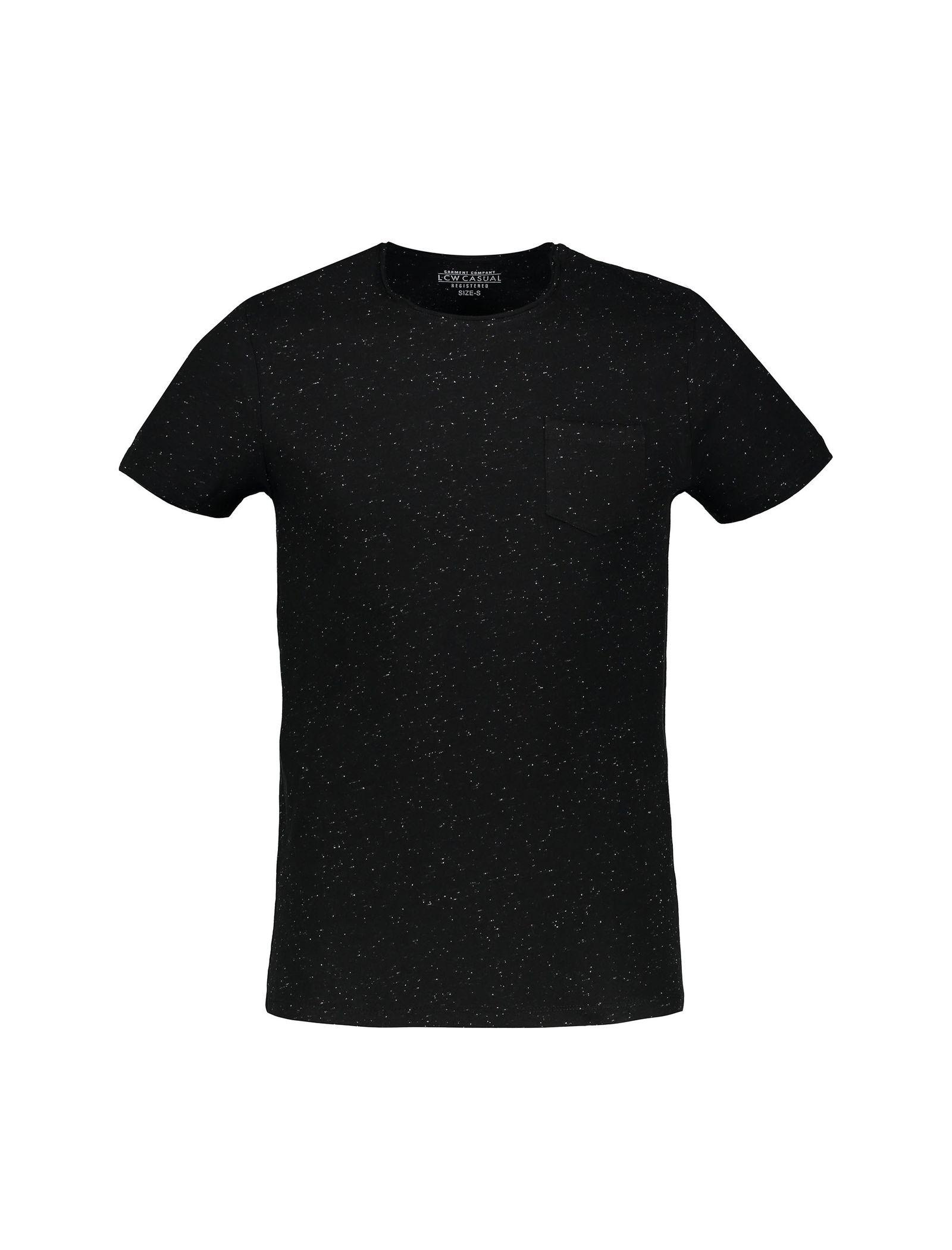 تی شرت نخی یقه گرد مردانه - ال سی وایکیکی - مشکي - 1