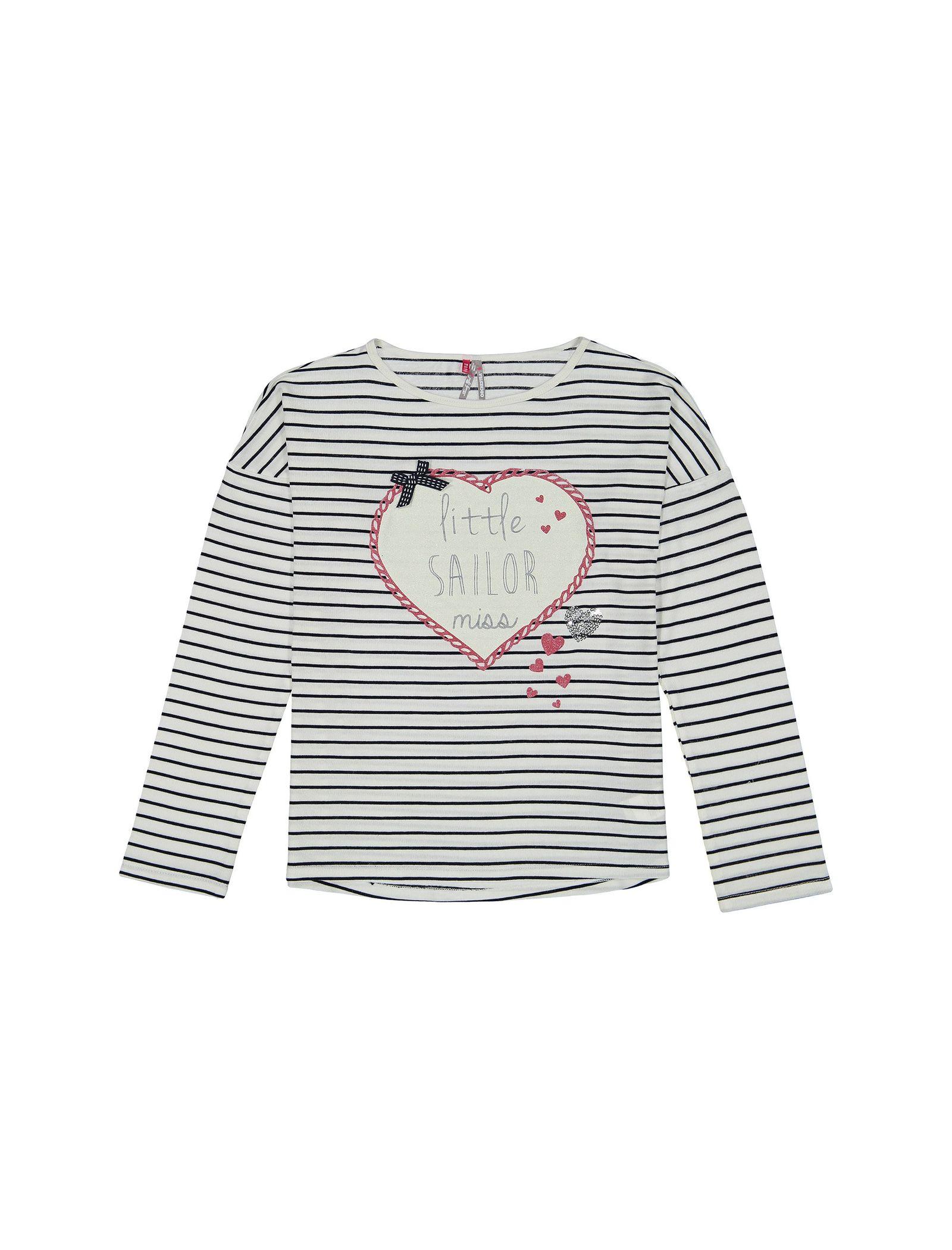 تی شرت ویسکوز یقه گرد دخترانه - ارکسترا - سفيد راه راه - 1