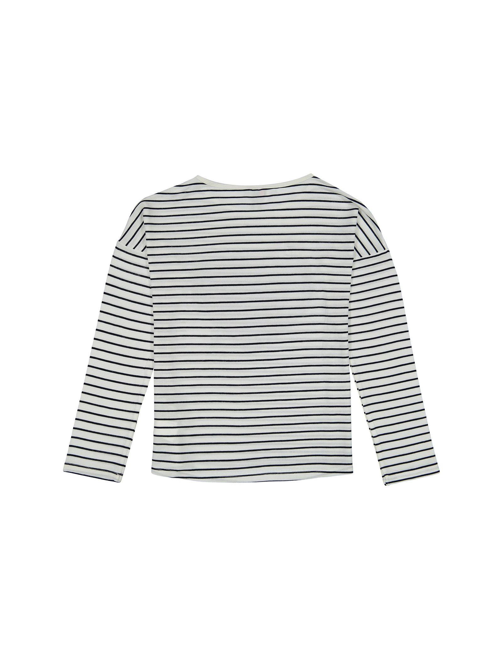 تی شرت ویسکوز یقه گرد دخترانه - ارکسترا - سفيد راه راه - 2