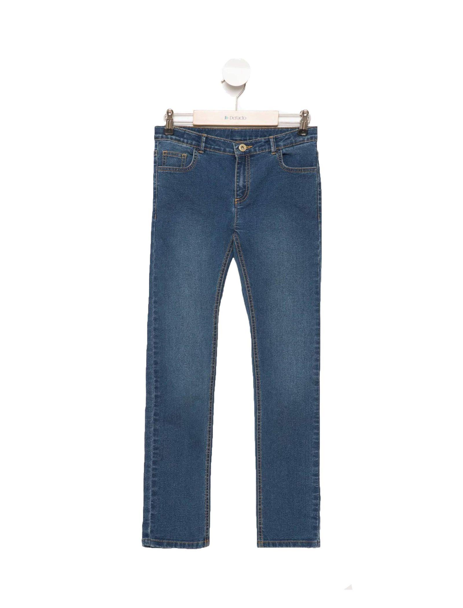 شلوار جین راسته دخترانه - دفکتو - آبي - 1