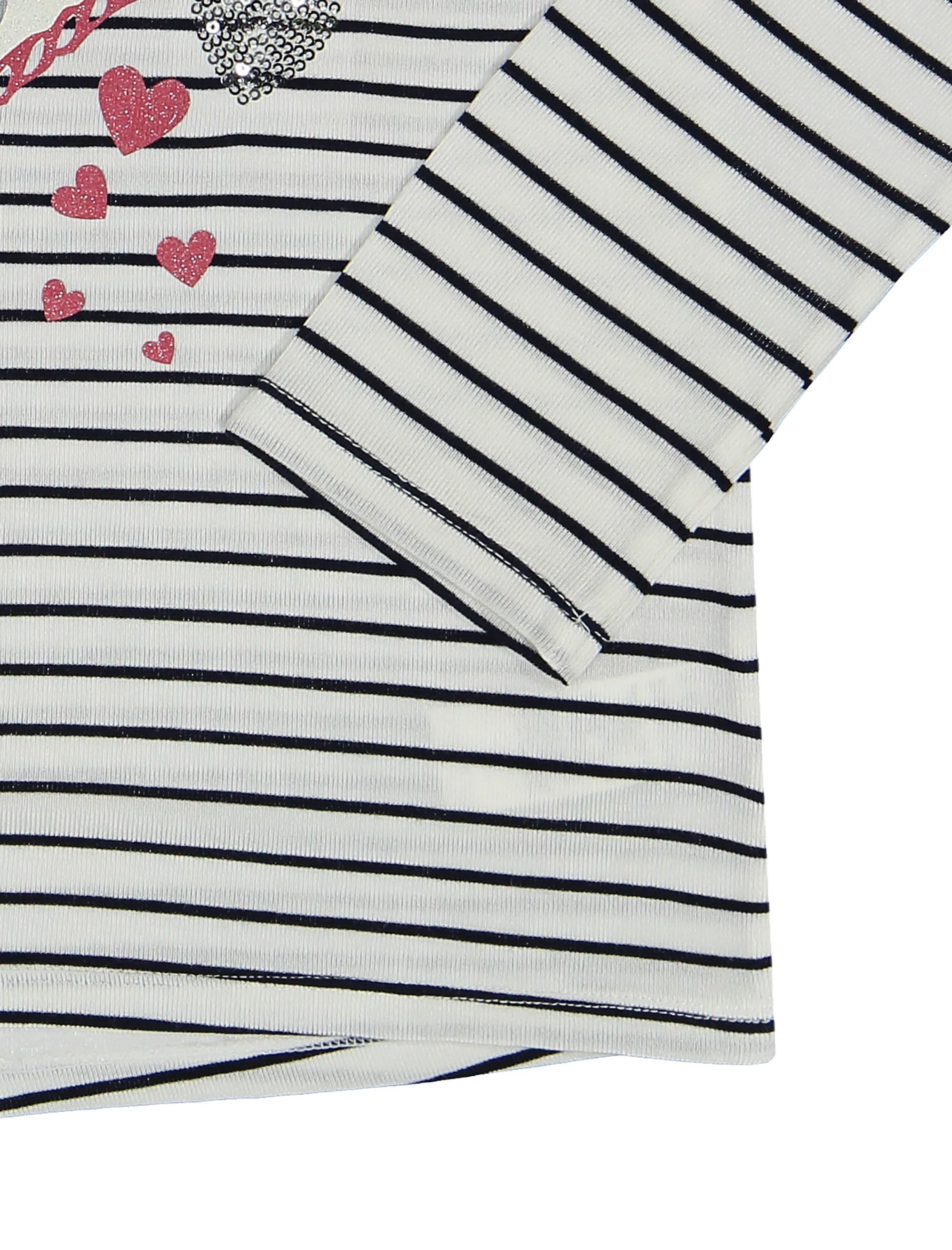 تی شرت ویسکوز یقه گرد دخترانه - ارکسترا - سفيد راه راه - 3