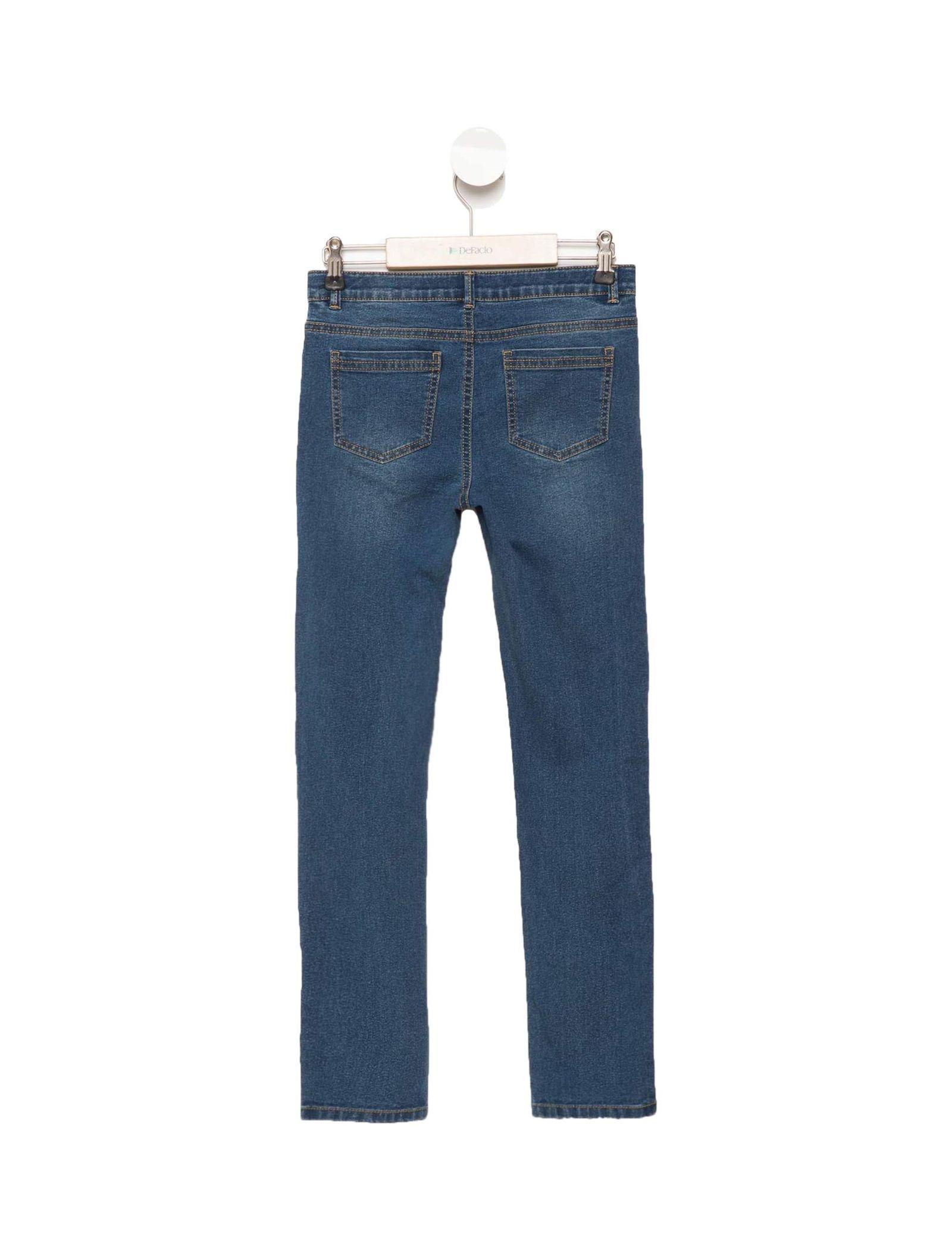 شلوار جین راسته دخترانه - دفکتو - آبي - 2