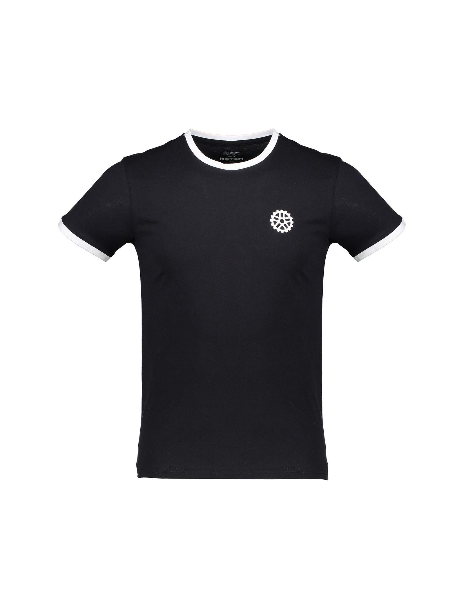 تی شرت نخی یقه گرد مردانه - کوتون - مشکي - 1