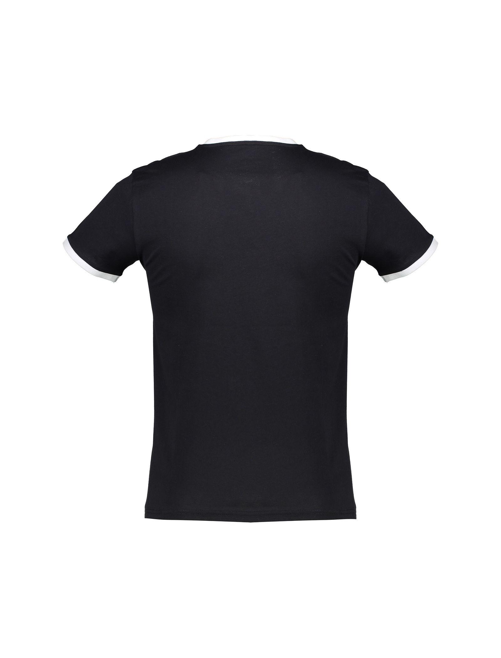 تی شرت نخی یقه گرد مردانه - کوتون - مشکي - 2