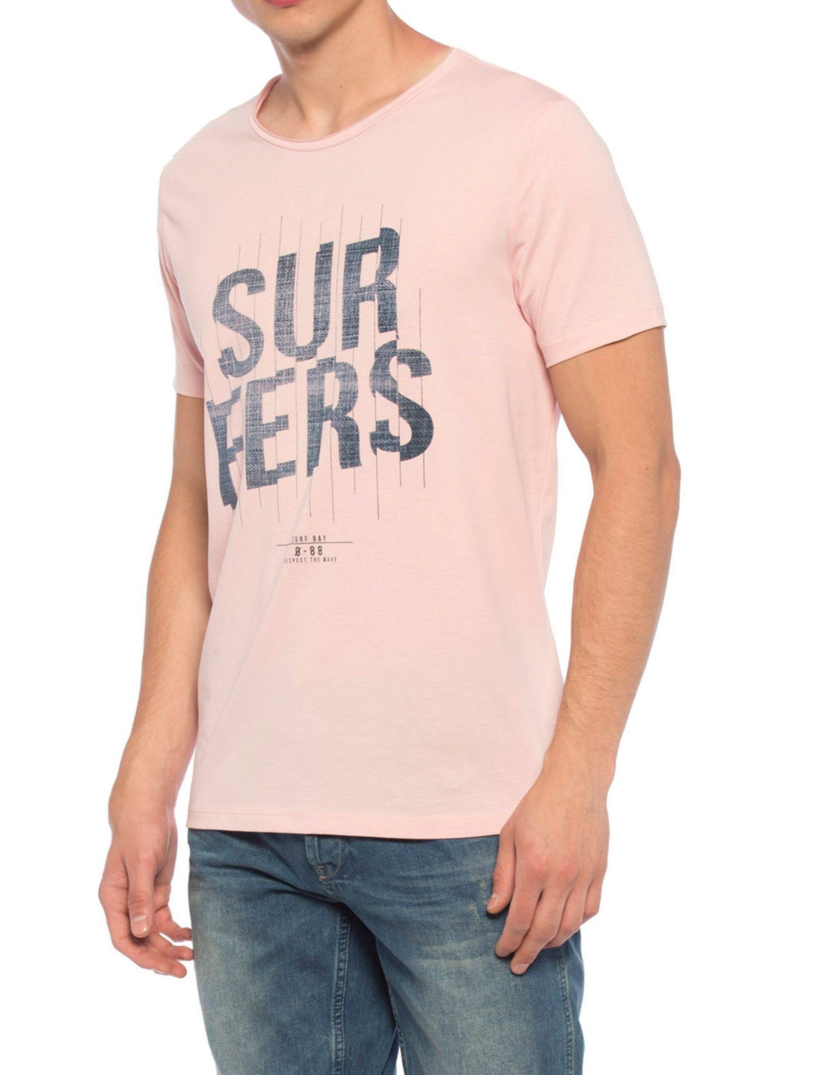 تی شرت نخی یقه گرد مردانه - ال سی وایکیکی - صورتي - 2