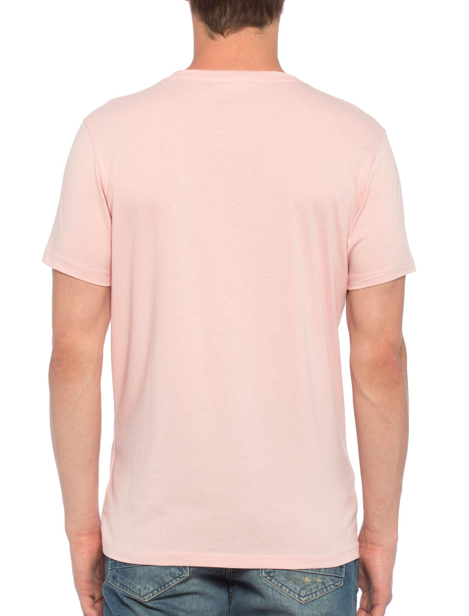 تی شرت نخی یقه گرد مردانه - ال سی وایکیکی - صورتي - 3