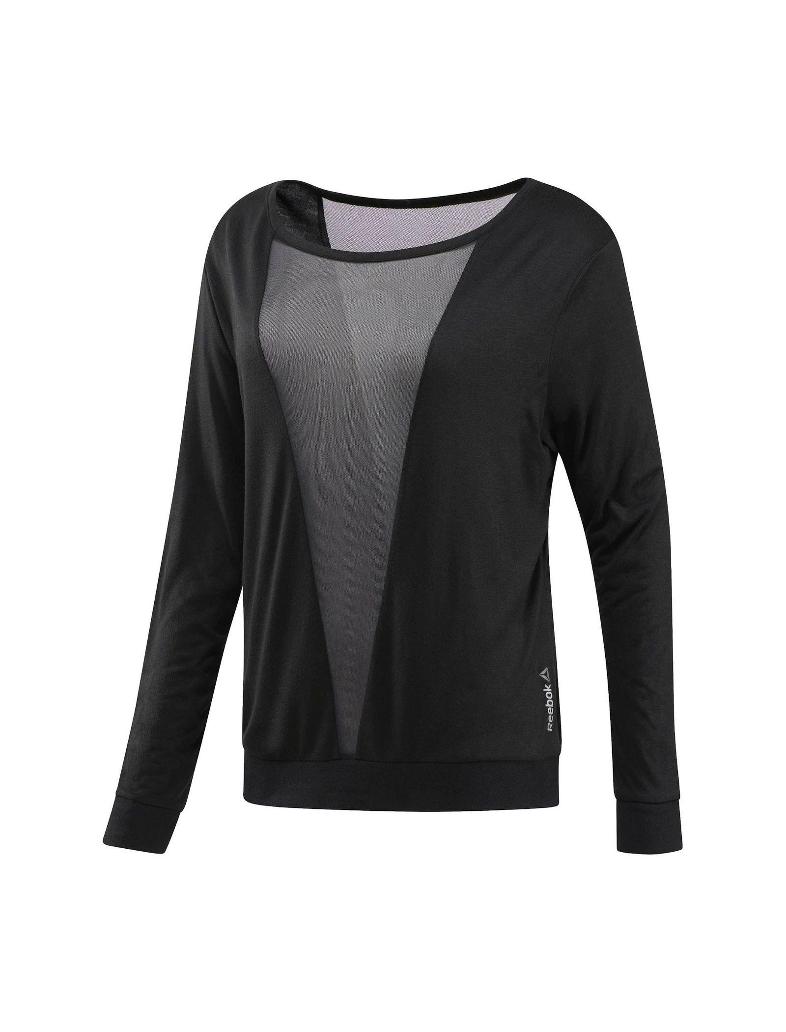 تی شرت ورزشی آستین بلند زنانه - ریباک - مشکي - 1