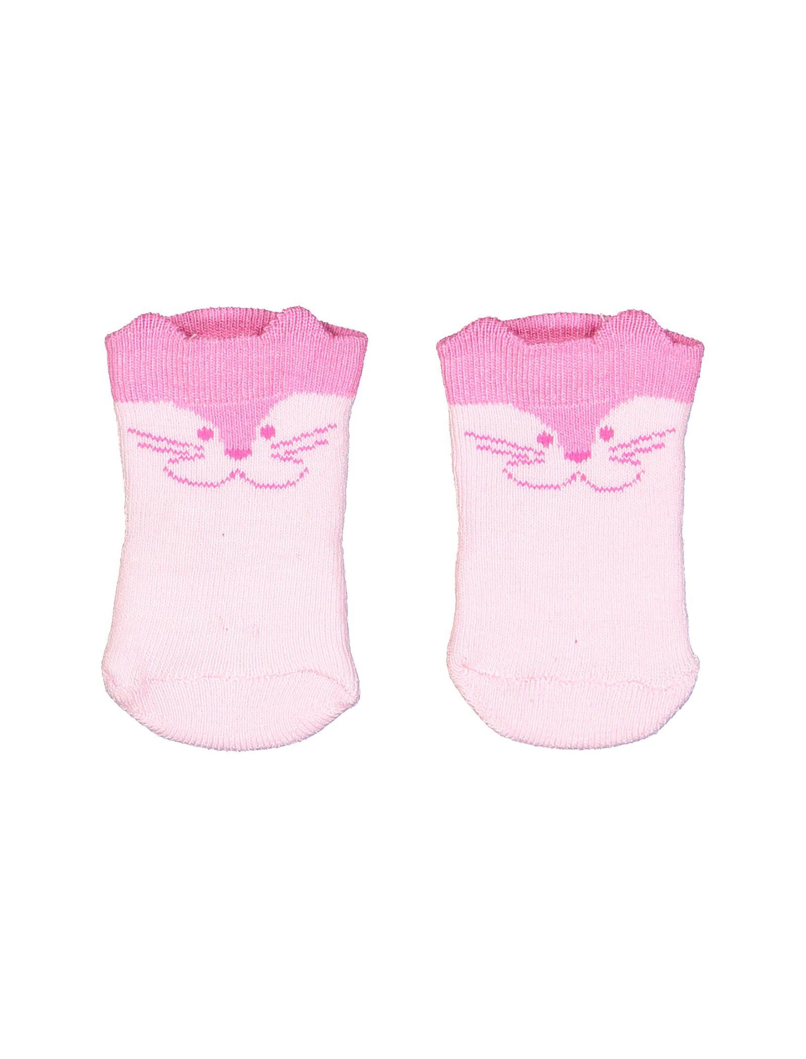 جوراب نخی طرح دار نوزادی - ایدکس - صورتي - 1