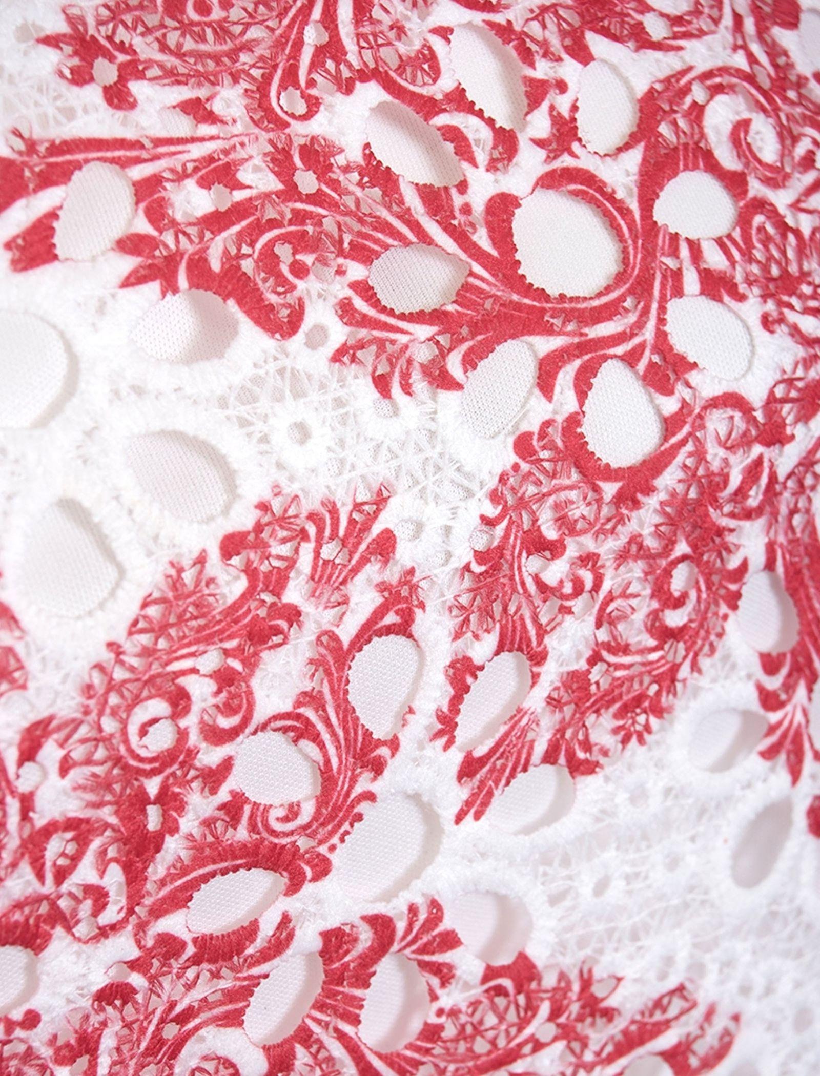 بلوز آستین حلقه ای زنانه - کوییز - سفيد و قرمز - 4