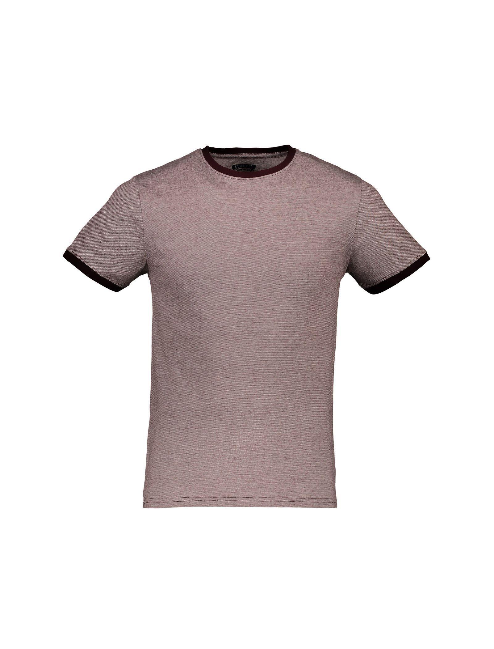 تی شرت نخی یقه گرد مردانه - رد هرینگ - زرشکي - 1