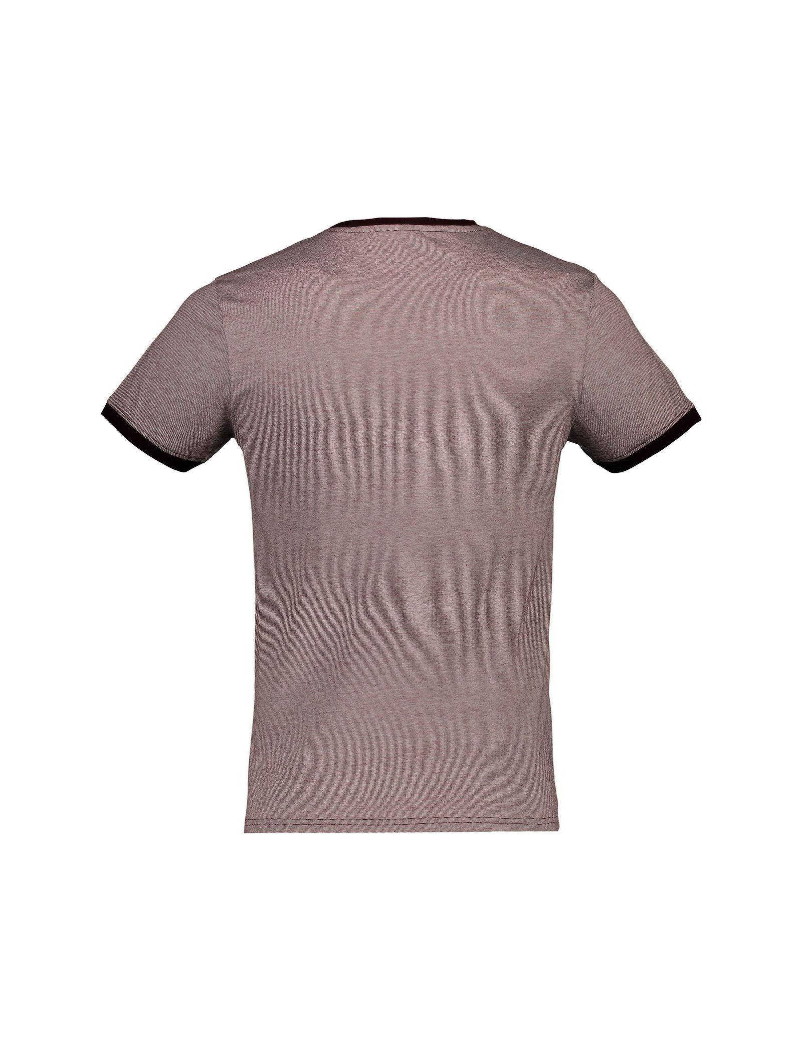 تی شرت نخی یقه گرد مردانه - رد هرینگ - زرشکي - 2