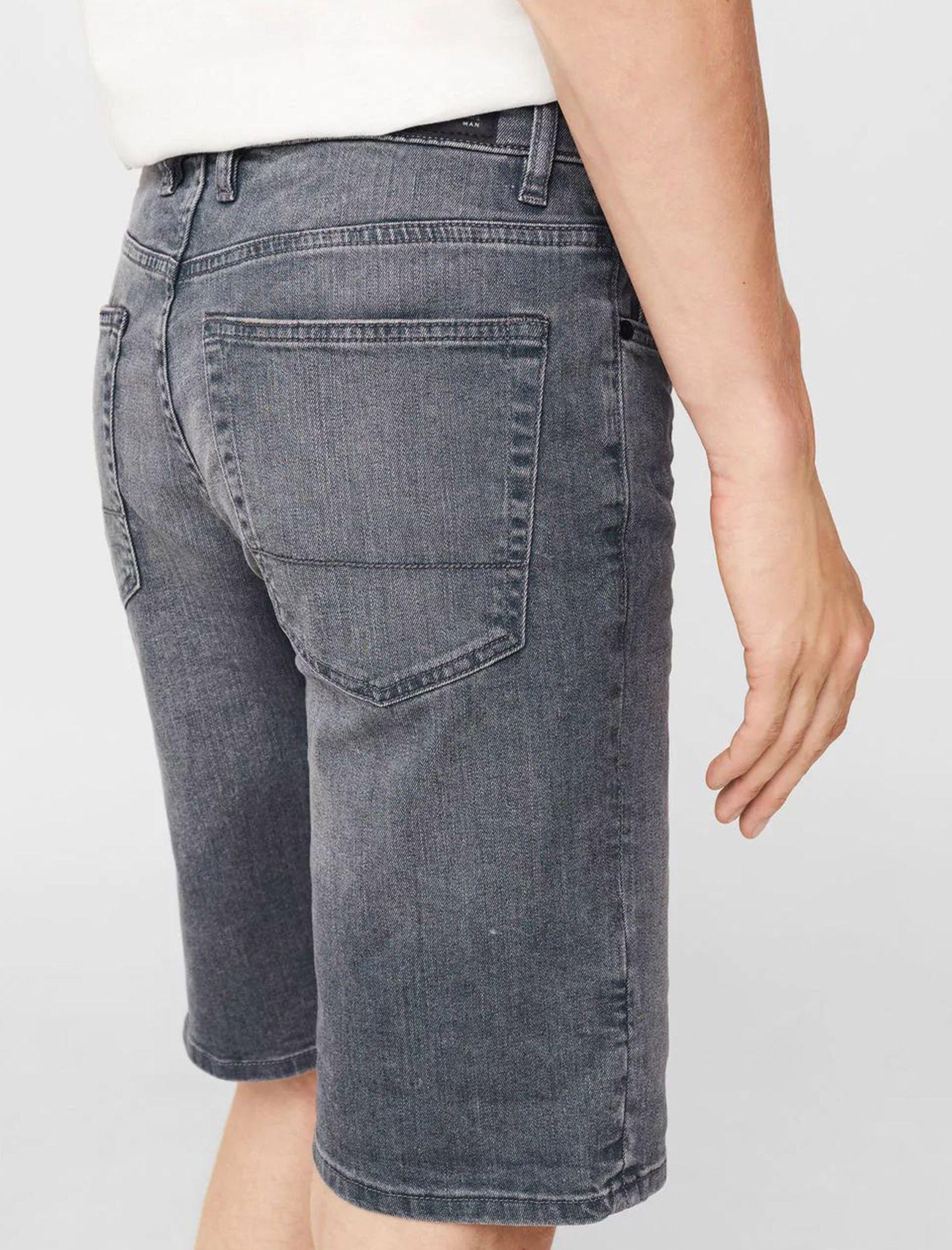 شلوارک جین مردانه - مانگو - طوسي - 3