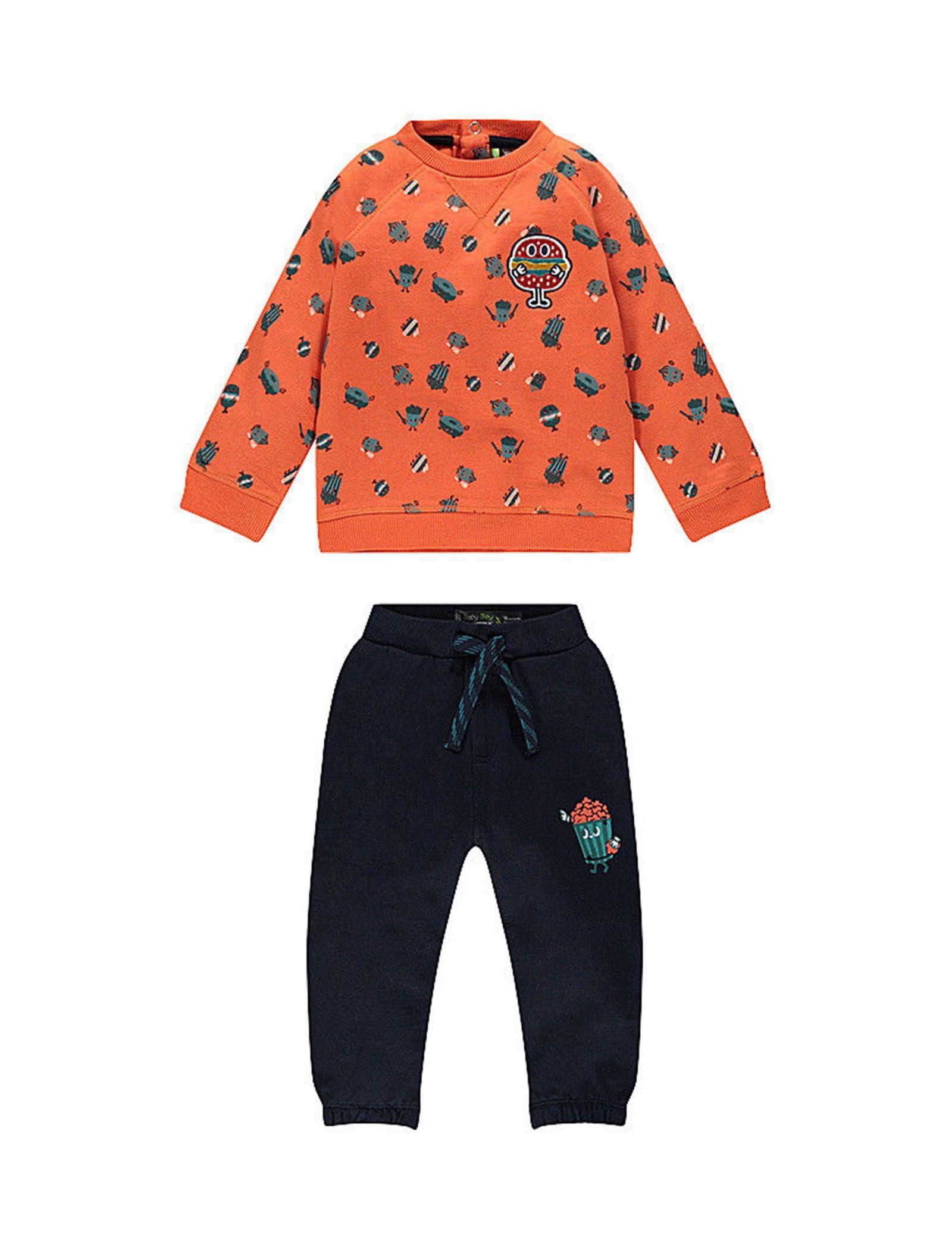 سویشرت و شلوار نخی دم پا کش نوزادی پسرانه - ارکسترا - سرمه اي و نارنجي - 1