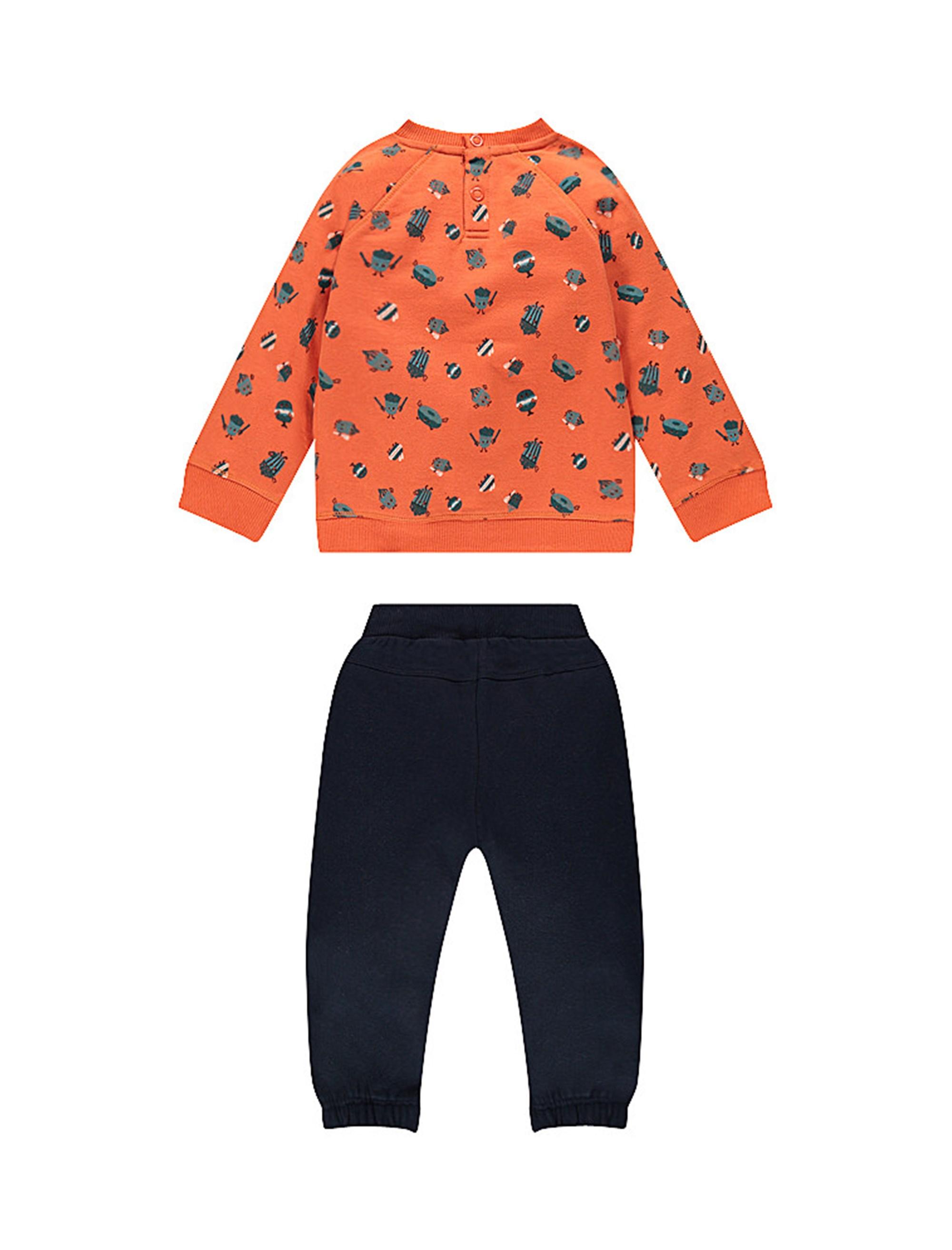 سویشرت و شلوار نخی دم پا کش نوزادی پسرانه - ارکسترا - سرمه اي و نارنجي - 2