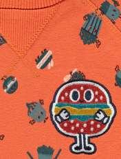سویشرت و شلوار نخی دم پا کش نوزادی پسرانه - ارکسترا - سرمه اي و نارنجي - 3