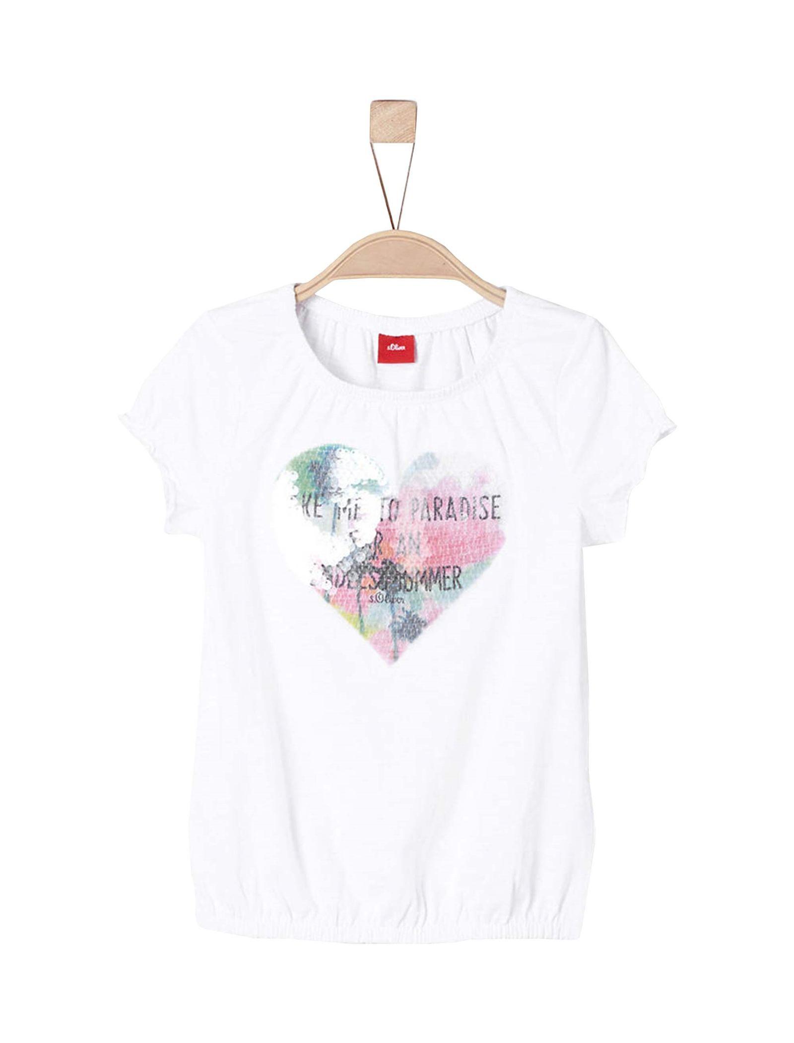 تی شرت نخی یقه گرد دخترانه - اس.اولیور - سفيد - 1
