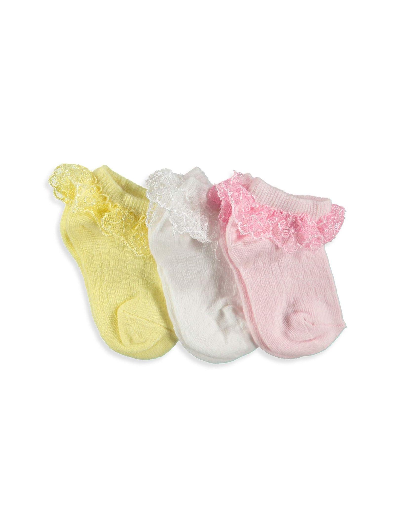جوراب ساده نوزادی دخترانه بسته 3 عددی - ال سی وایکیکی - ليمويي/سفيد/صورتي - 2