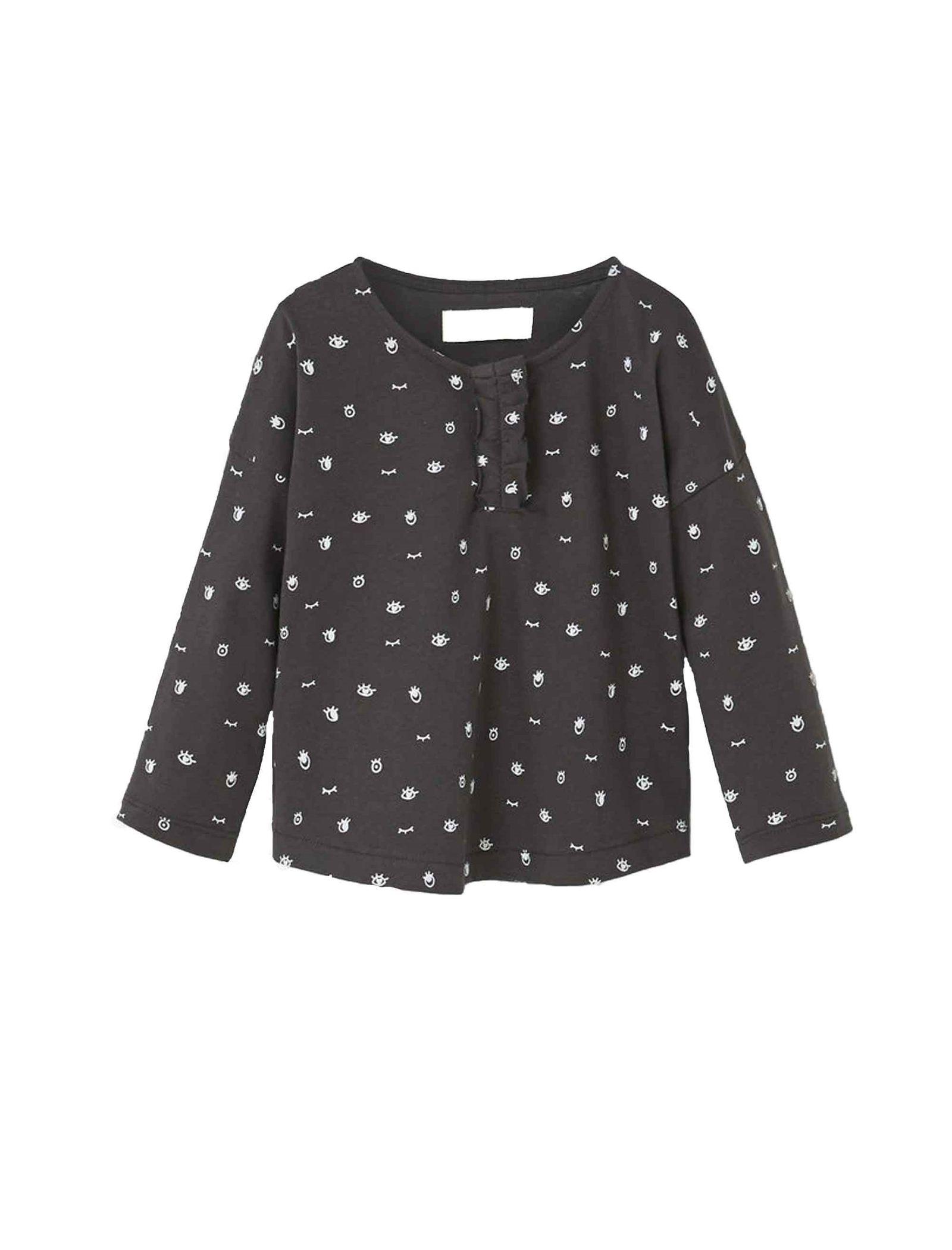 تی شرت نخی آستین بلند نوزادی دخترانه - مانگو - زغالي - 1