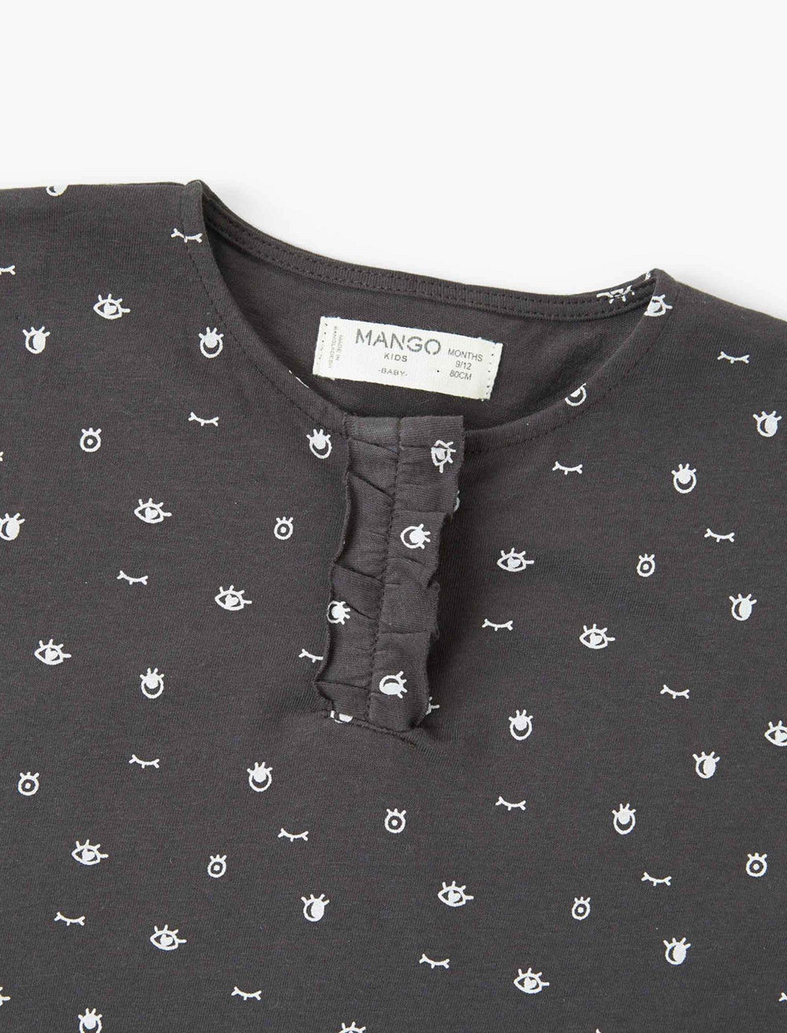 تی شرت نخی آستین بلند نوزادی دخترانه - مانگو - زغالي - 4