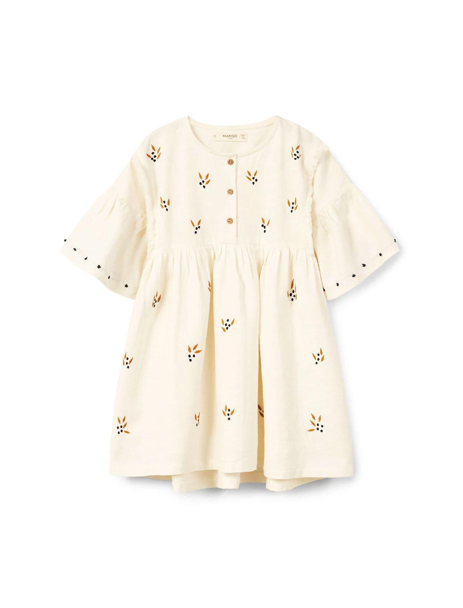 پیراهن نخی روزمره دخترانه - مانگو - سفيد - 1
