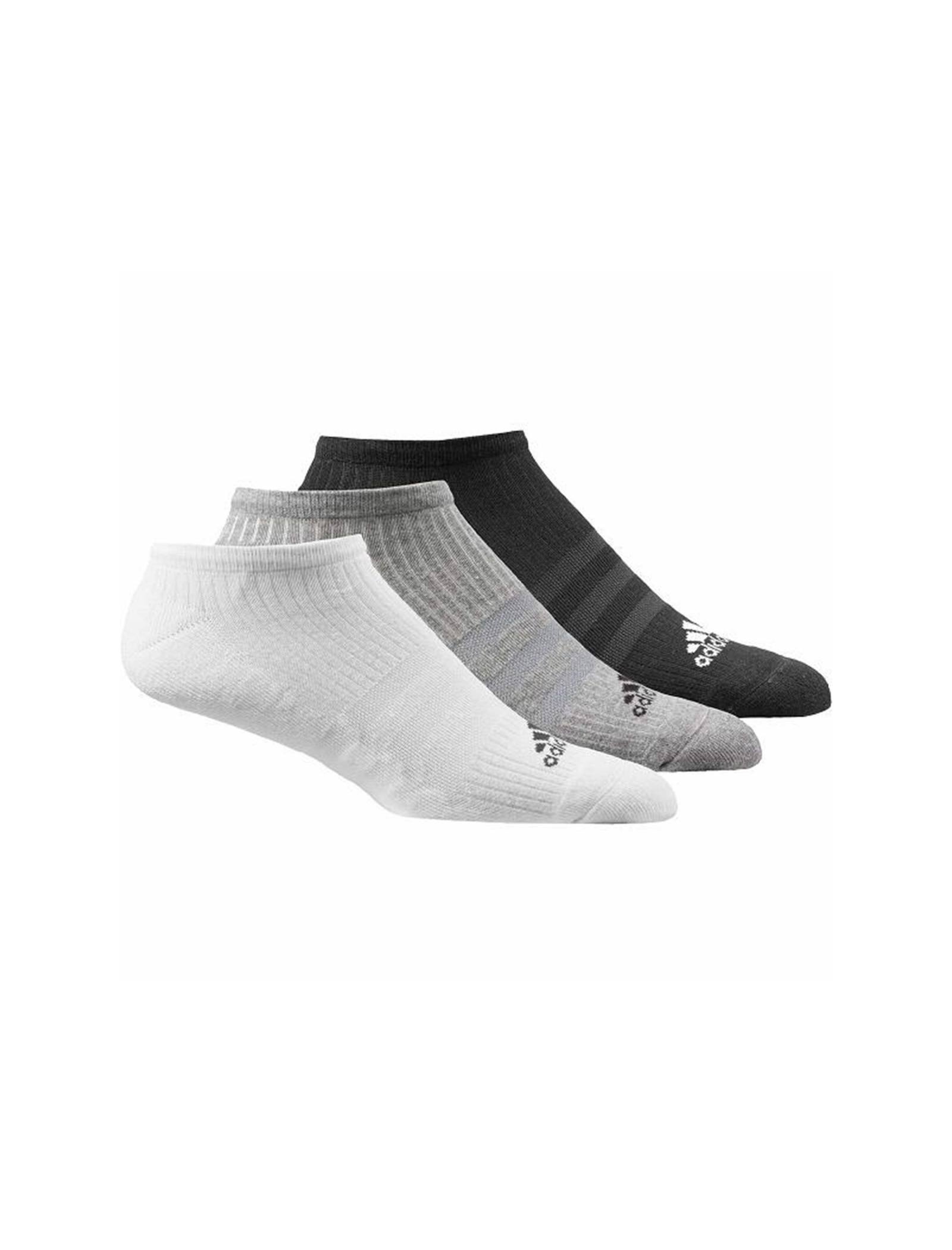 جوراب نخی بدون ساق بزرگسال بسته 3 عددی - آدیداس - طوسي/مشکي/سفيد - 1