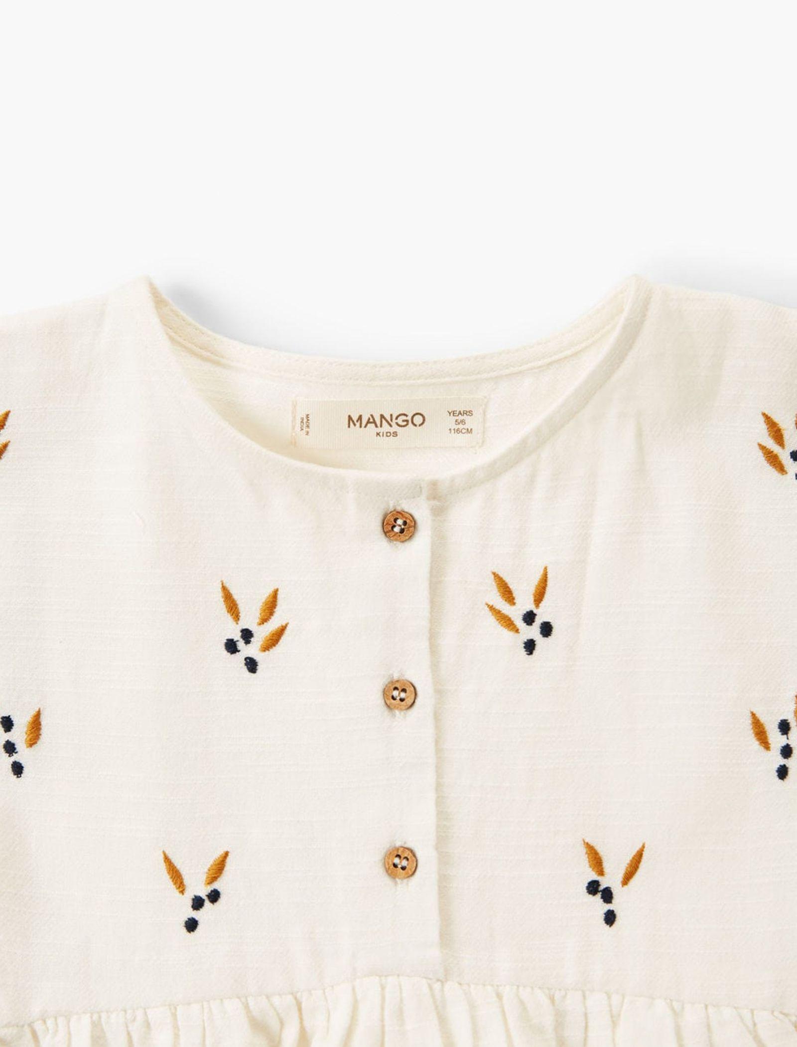 پیراهن نخی روزمره دخترانه - مانگو - سفيد - 3