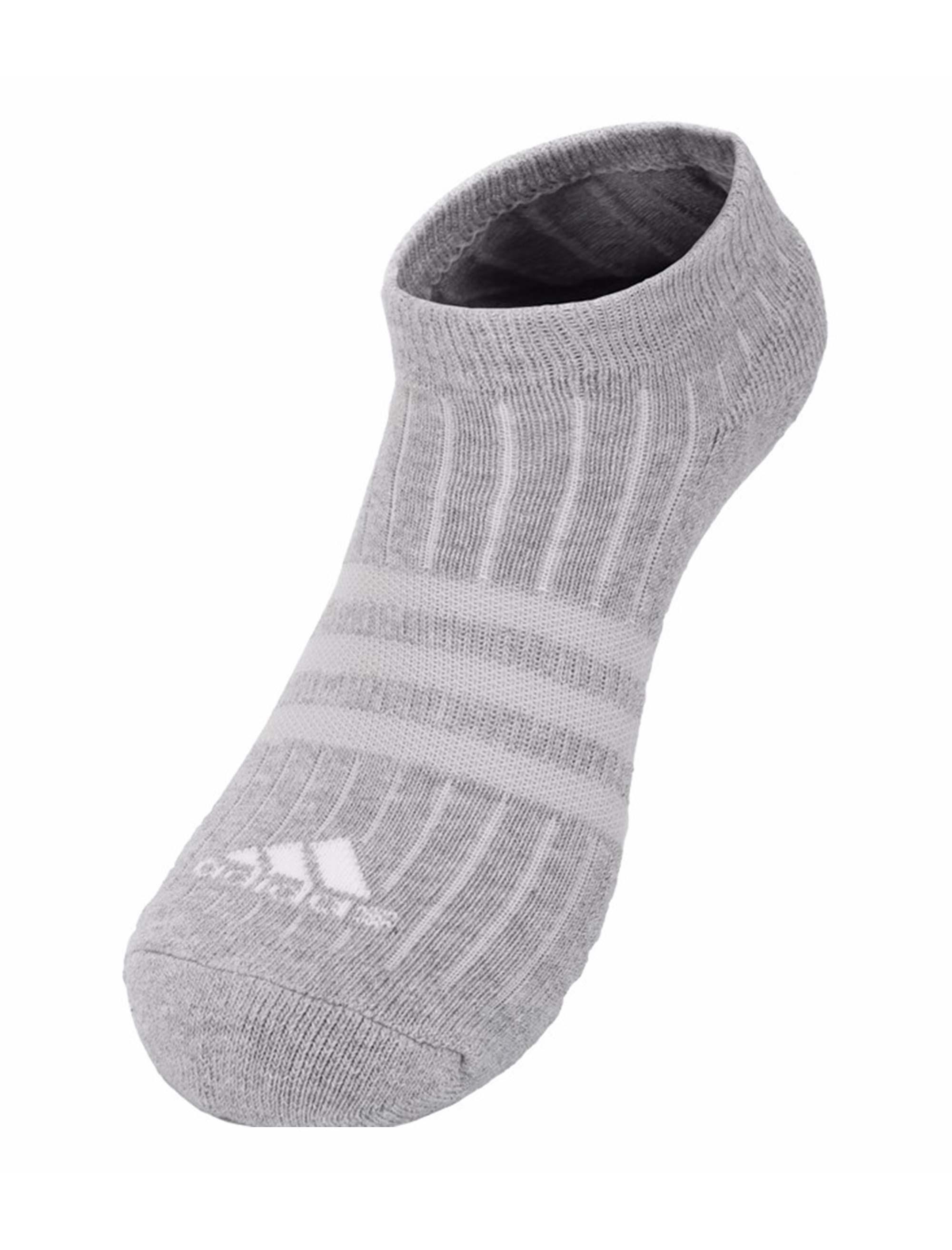 جوراب نخی بدون ساق بزرگسال بسته 3 عددی - آدیداس - طوسي/مشکي/سفيد - 3