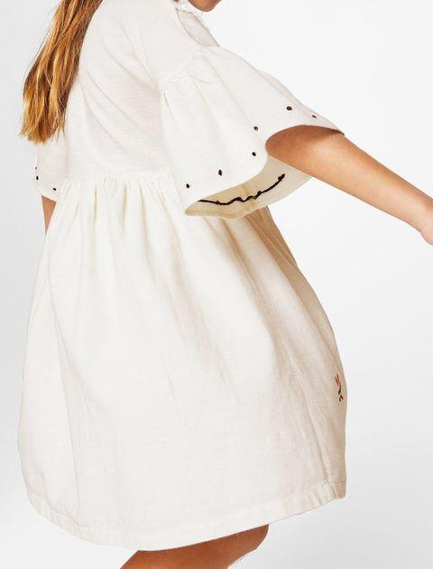 پیراهن نخی روزمره دخترانه - مانگو - سفيد - 6