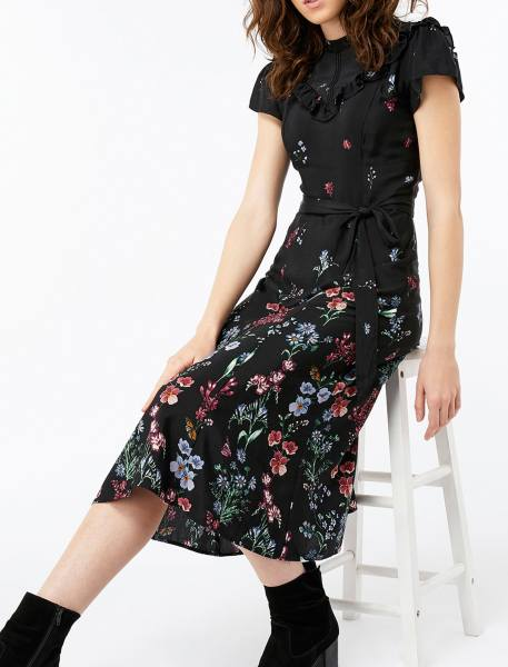 پیراهن ویسکوز بلند زنانه - مشکي - 2