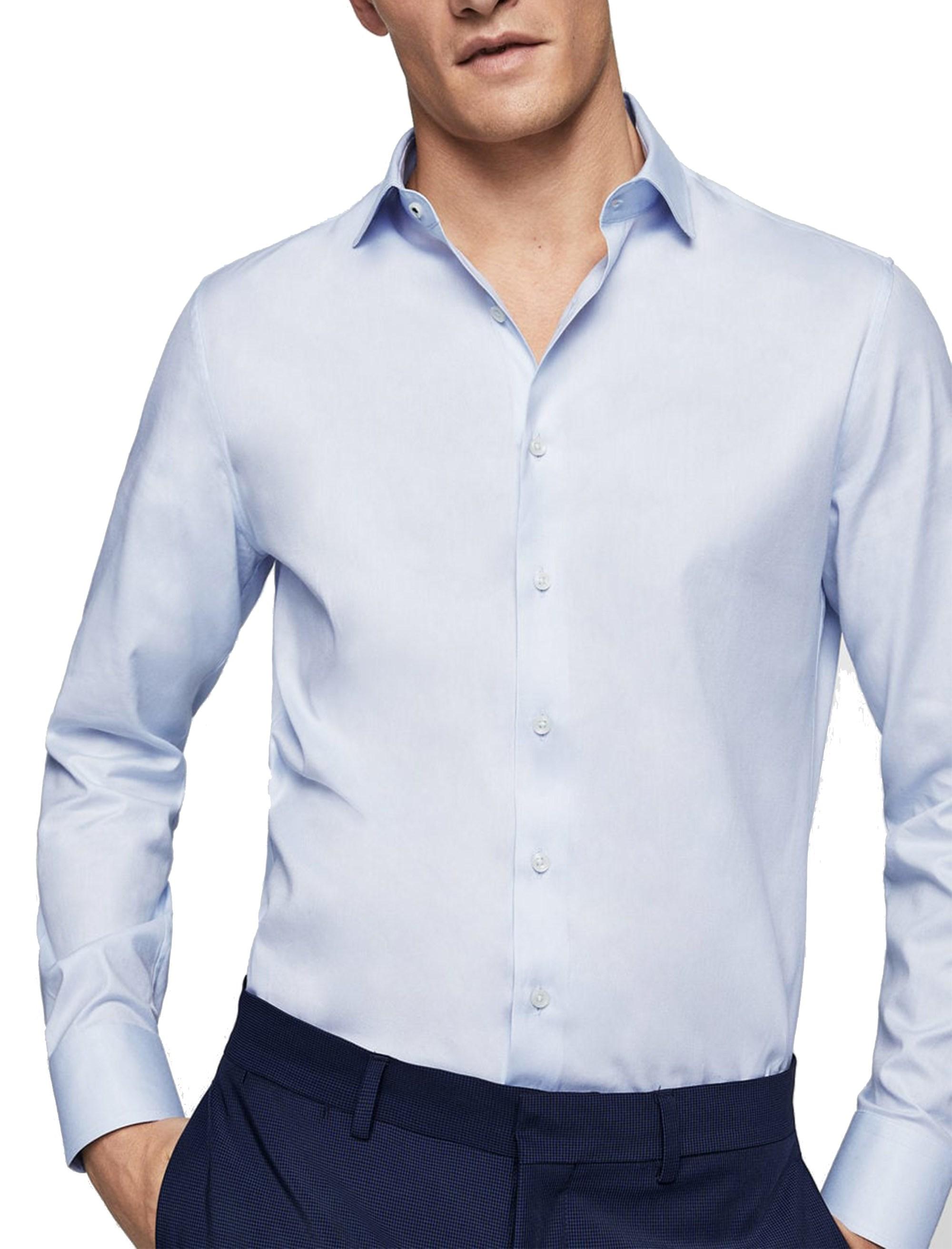 پیراهن نخی آستین بلند مردانه - آبي روشن - 1