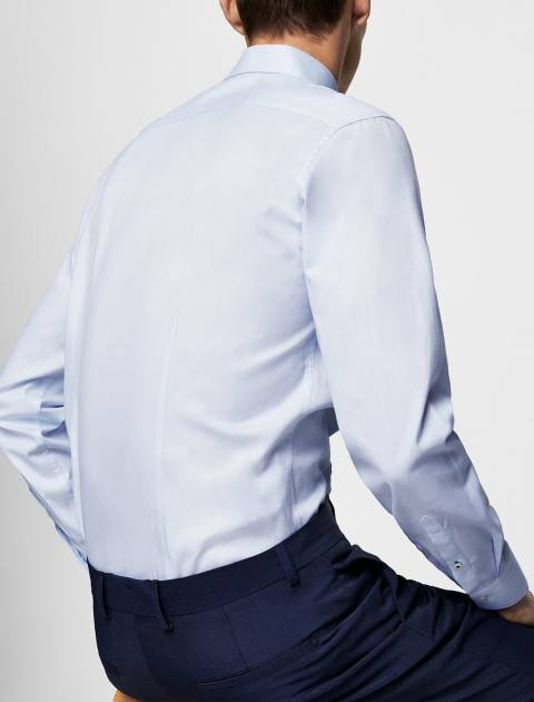 پیراهن نخی آستین بلند مردانه - آبي روشن - 2