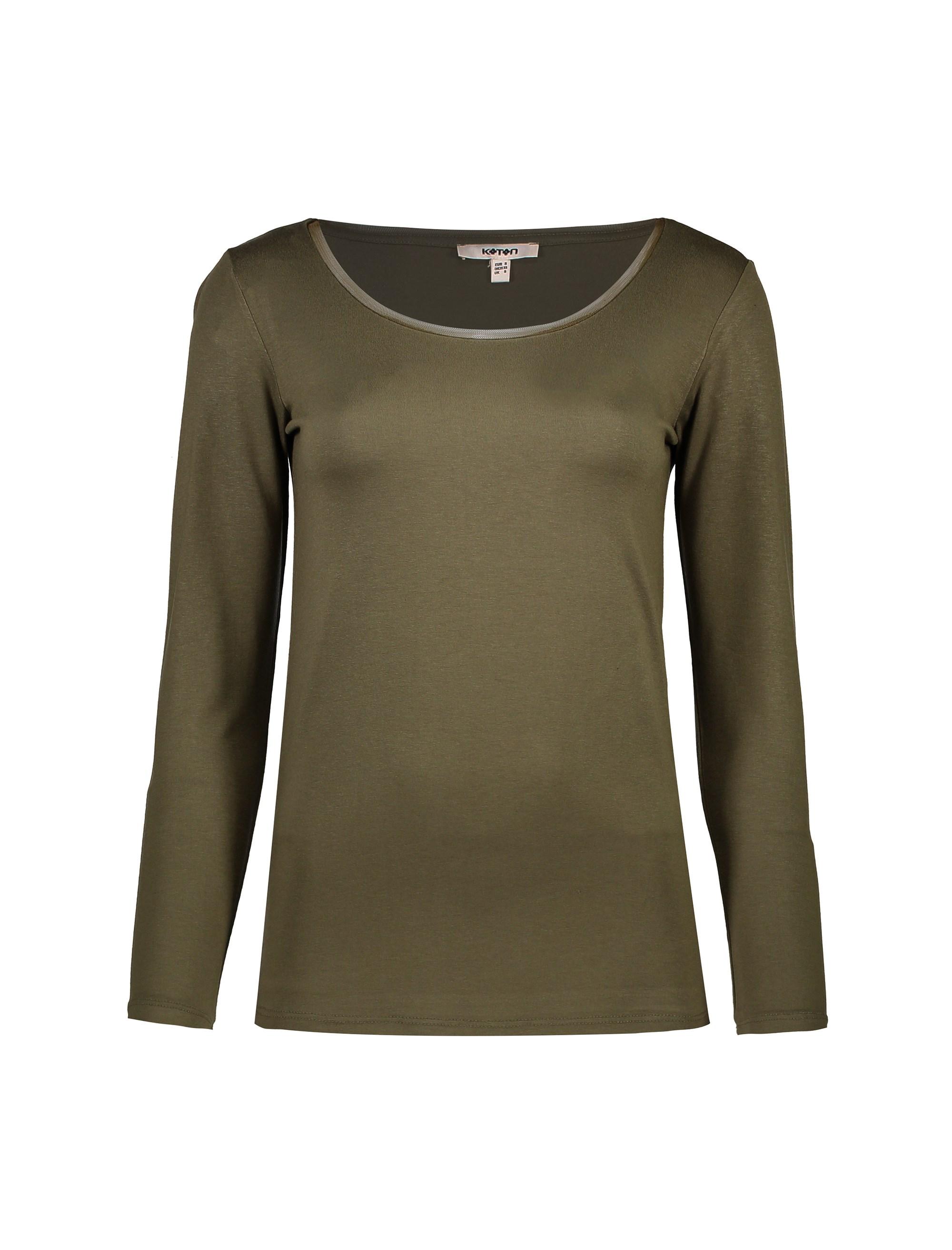 تی شرت ویسکوز آستین بلند زنانه - کوتون - خاکي - 1