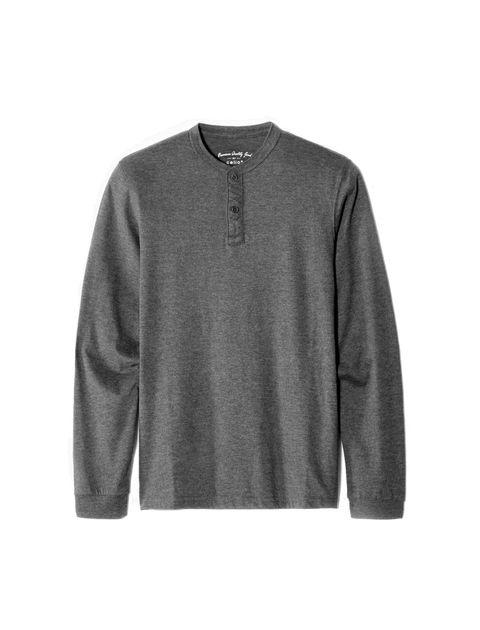 تی شرت نخی یقه گرد مردانه - سلیو - زغالي - 1