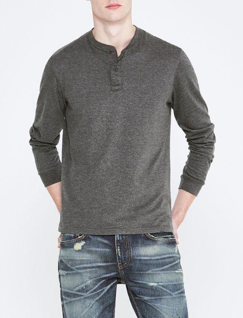 تی شرت نخی یقه گرد مردانه - سلیو - زغالي - 2