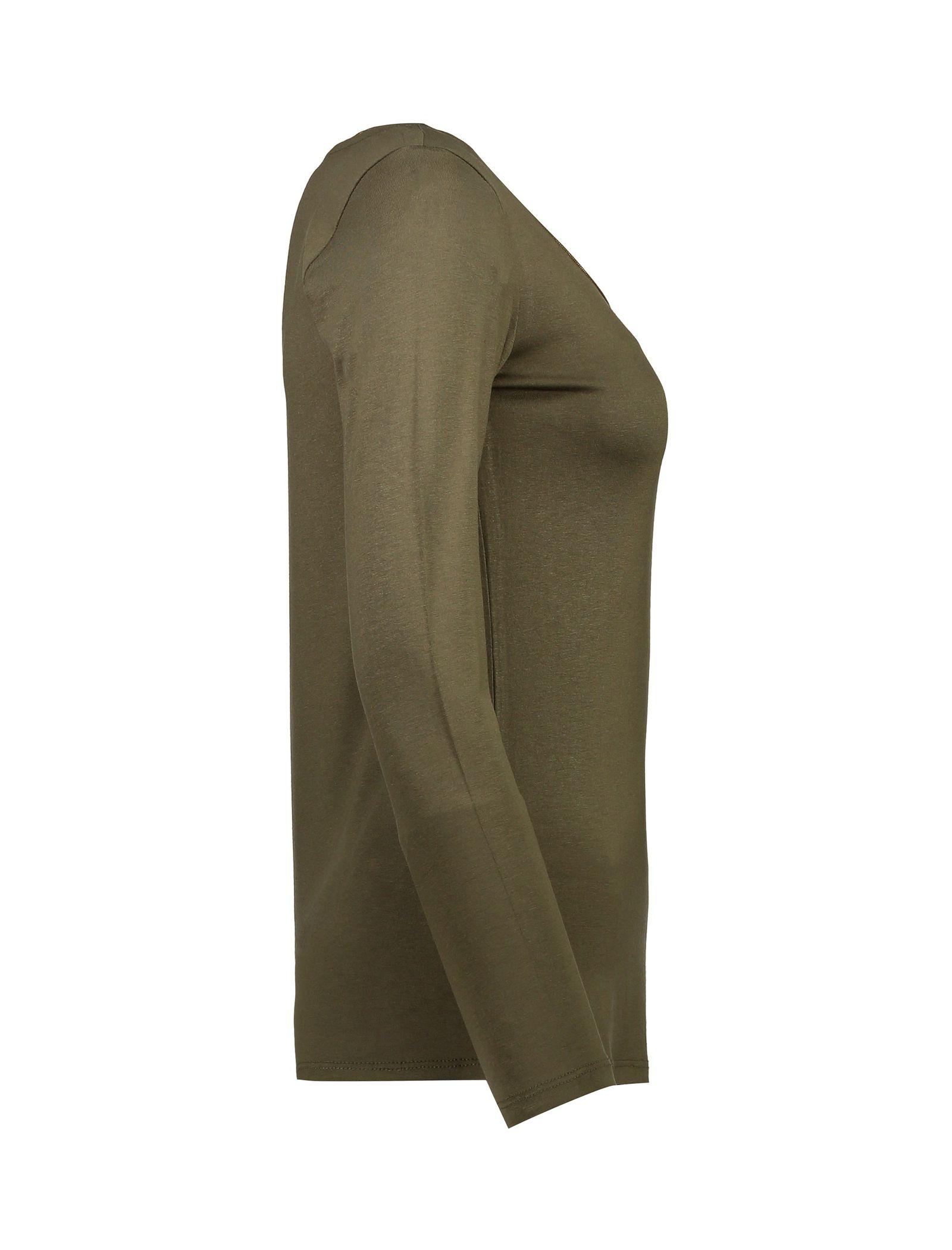 تی شرت ویسکوز آستین بلند زنانه - کوتون - خاکي - 4