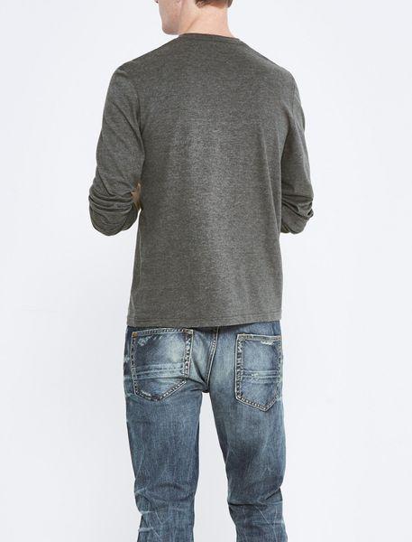 تی شرت نخی یقه گرد مردانه - زغالي - 3