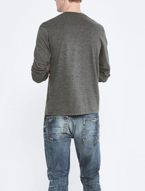 تی شرت نخی یقه گرد مردانه - سلیو - زغالي - 3