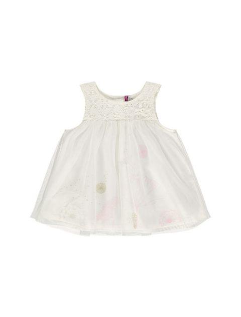 پیراهن نوزادی بدون آستین نوزادی دخترانه - سفيد - 1