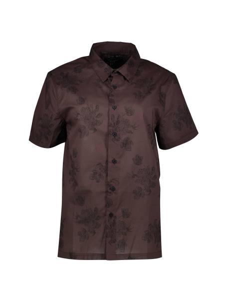 پیراهن نخی یقه برگردان مردانه - قهوه اي - 1