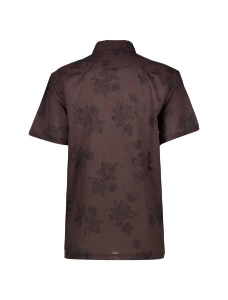 پیراهن نخی یقه برگردان مردانه - قهوه اي - 2