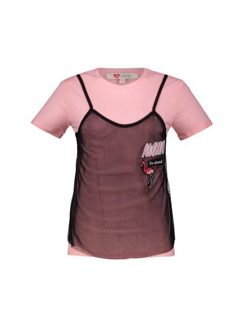 تی شرت نخی یقه گرد زنانه - کوتون - صورتي - 1